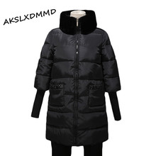 New Arrival Parkas Winter Jacket Women 2016 Thicker Padded Jackets and Coats Fur Collar Pocket with Daimonds Coat Female LH455