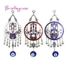 BRISTLEGRASS Turkish Blue Evil Eye Disk Hamsa Hand Flower Amulet Lucky Charm Wall Hanging Pendant Blessing Protection Home Decor