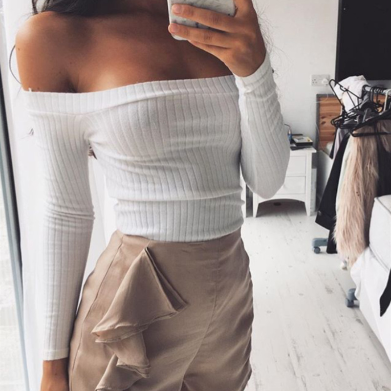 European Style Sexy Slash Neck White T-shirt Women Cropped Tops Autumn Long Sleeved Halter Top Gril Off the Shoulder T Shirt