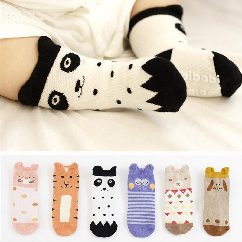 PluckyStar Baby Anti Slip Socks Newborn Cartoon Animal Knee High Boys Socks Kid Girl Toddler Crawl Leg Warmer Baby Knee Pad S29