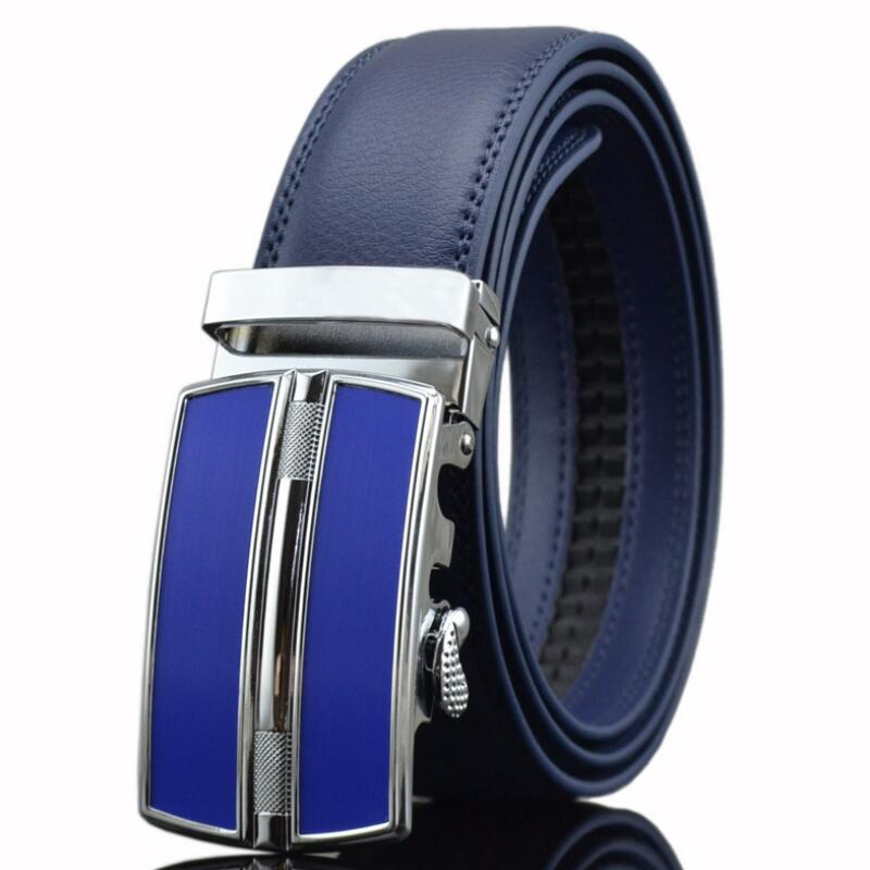 ZPXHYH Famous Brand Belt Men Top Quality Genuine Luxury Leather Belts For Men,Strap Male Metal Automatic Buckle Men's Belts Blue