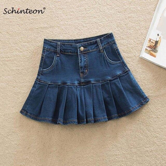 9ff66769ce 2019 Schinteon verano de las mujeres pantalones cortos Denim Mini faldas  Sexy con volantes plisado falda