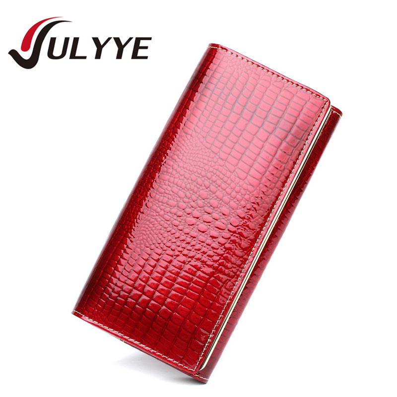 Fashion Ladies European Crocodile Style Genuine Leather Wallets Band Ladies Coin Pocket Purse Women Wallets Long