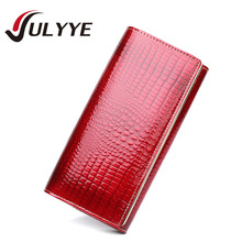 Fashion Ladies European Crocodile Style Genuine Leather Wallets Band Ladies Coin Pocket Purse Women Wallets Long Clutch Bag