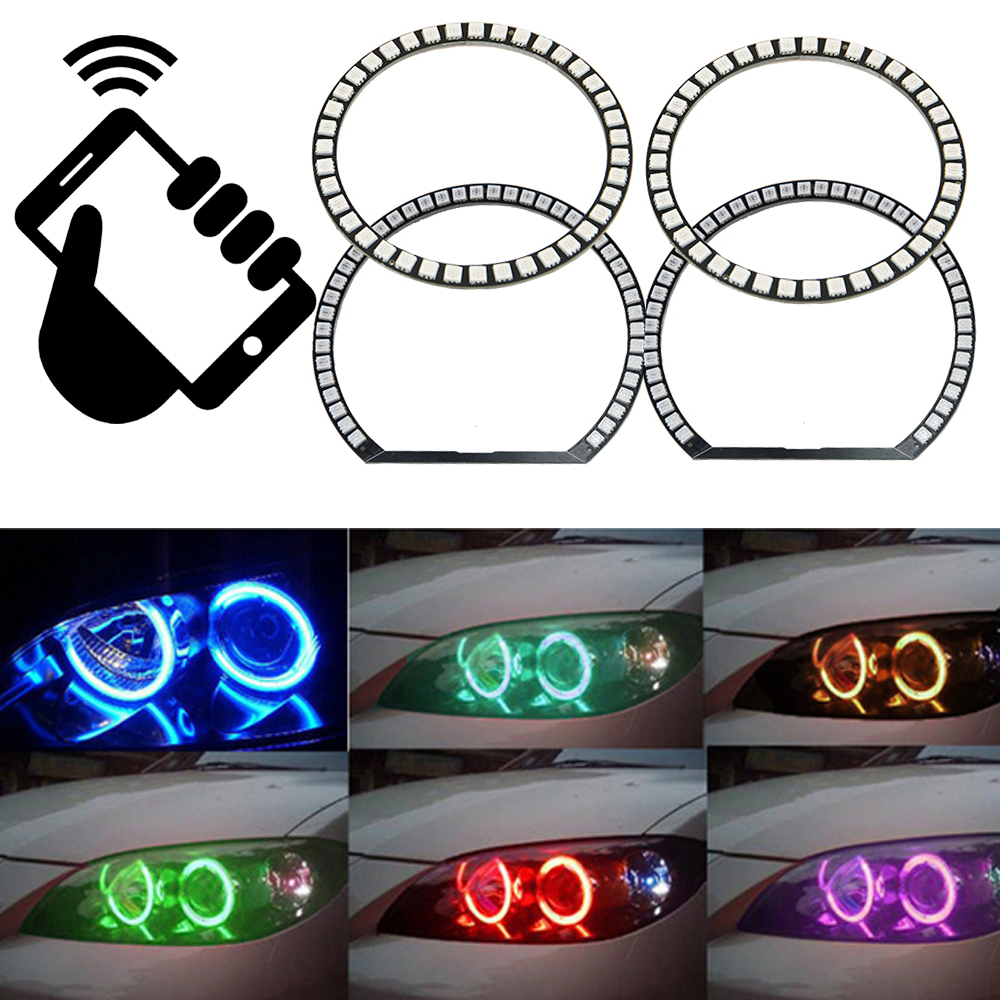 2 X 106mm + 2 X 131mm 5050smd RGB led angel eyes Halo for BMW 3 series E46 Compact 2001 2002 2003 2004 2005 WIFI Remote Control