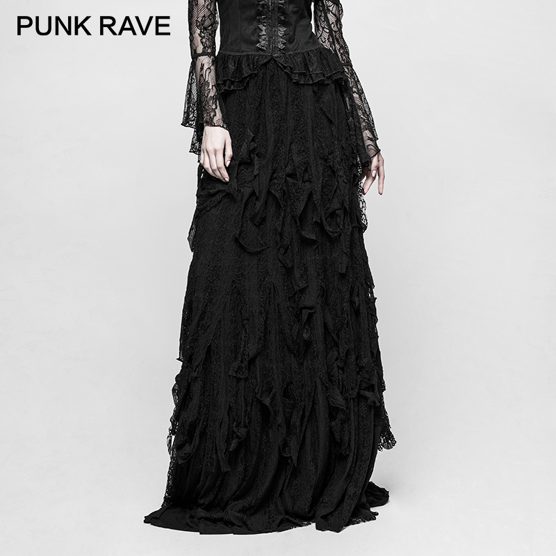 PUNK RAVE Gothic Vintage Gorgeous Sexy Ladies Dancing Long Skirts Elasticity Vertical Lace Stripe Mesh Pattern Women's Clothing sky blue stripe pattern skirts
