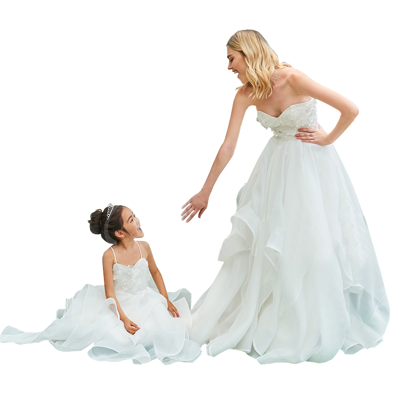 Mère fille robes de soirée élégant vêtements famille correspondant tenues vêtements mère fille robes de mariée fée Dres - 5