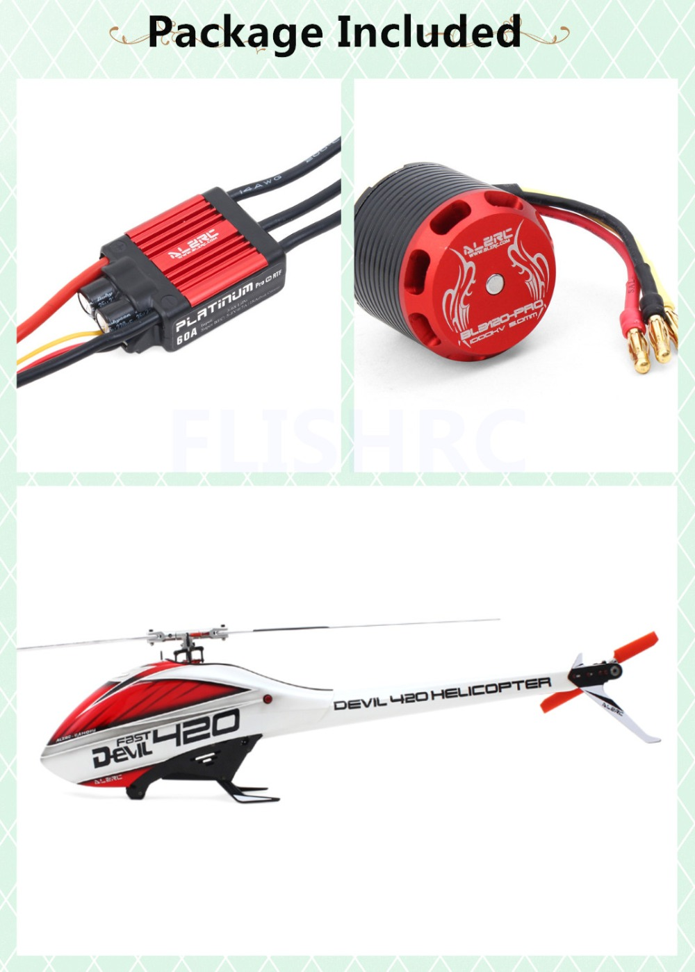 ALZRC - Devil 420 Helicopter 420 FAST FBL Combo (Included 60A-V4 Brushless ESC and BL3120 Motor ) - Silver - Standard цена
