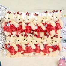 Оптовая продажа 12 Шт./лот 12 СМ Медведь Милые Девушки Плюшевые Игрушки Куклы Вещи и плюшевые Мини Букеты Медведь Игрушки Для Рекламных подарок