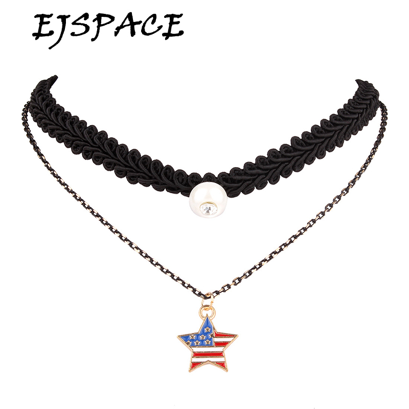 2016 New Brand Necklaces Fashion Black Leather Choker Necklace