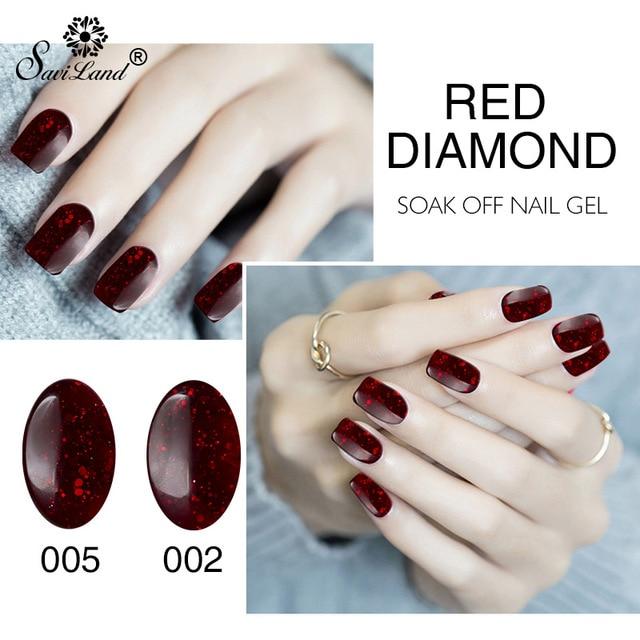 Saviland 8ml Red Diamond Nail Gel Polish Soak Off Glitter Uv Long Lasting Varnishes