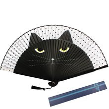 METABLE 1Pcs Silk Folding Fan Bamboo Ribs Cartoon Cat Pattern Spray Paint Hand Held Fans For Wedding Party Home Wall Decoration