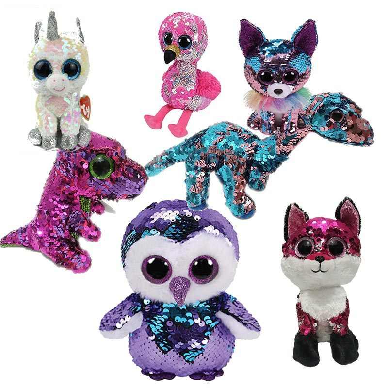 0647d90bb84 TY Beanie Boos 15cm sequin Unicorn Cat Bird Dog Draon Olw Plush Toys Big  Eyes Eyed