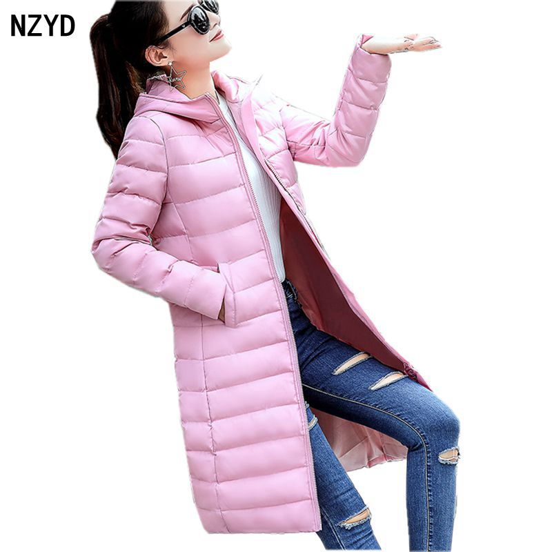 Winter Women Parkas 2017 New Hooded Warm Meidum long Solid color Cotton Jacket Down Long sleeve Slim Big yards Female Coat C4 2017 new women winter coat long quilted jacket thick warm solid color cotton parkas female slim hooded zipper outwear okb88
