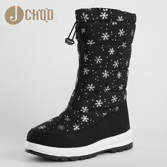 JCHQD 2018 invierno Botas mujeres Mid-Calf abajo Botas de plantilla Botas mujer impermeable Botas de nieve chicas Mujer zapatos