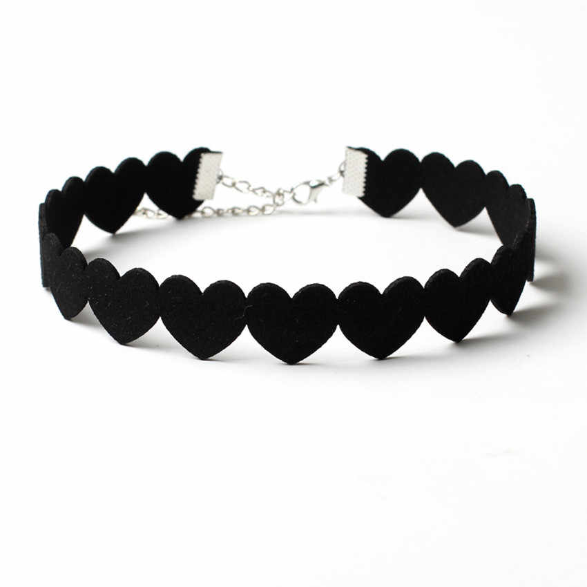 Charm Woman Black Velvet Lint Heart Chokers Necklace Elegant Fashion female Collar Party Jewelry Neck accessories
