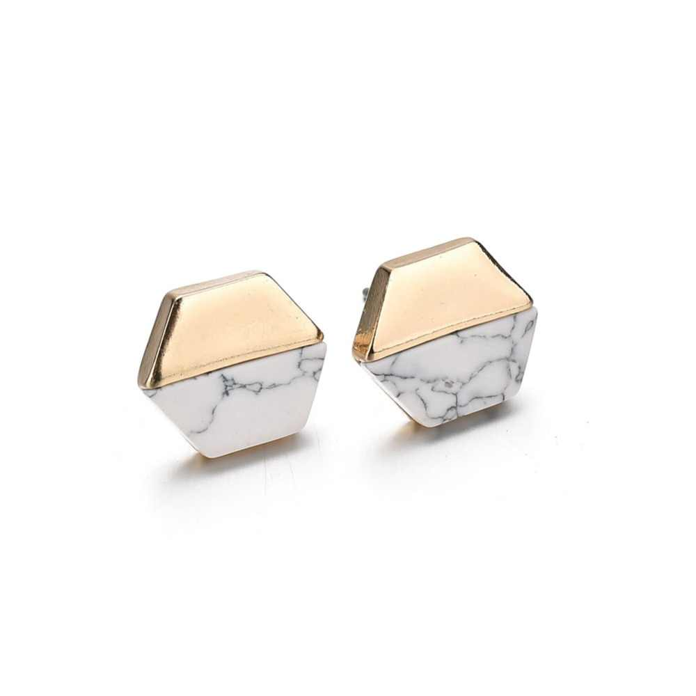 High Quality Simple Small Mini Geometric Earring White Marble Stones Gold Stud Earring For Women Trendy Sweet Brincos Earring