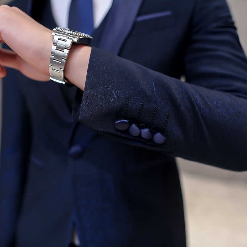 pourpre Solide D'affaires De Gamme Haut Gilet Formelle Hommes Costumes veste 3 Pantalon Robe Pièces Marque Mariage Couleur Nouveau Costume marié Bleu 4S8nwR
