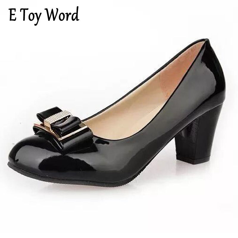 E TOY WORD 2018 Spring New Women High Heel Bowknot Middle Heel Leather Shoes Women Round Toe Casual Working Shoes Women e toy word canvas shoes women han edition 2017 spring cowboy increased thick soles casual shoes female side zip jeans blue 35 40