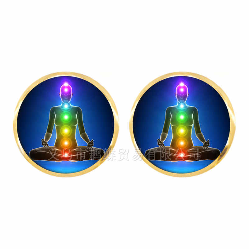 7 Chakra Reiki Healing Stud Earrings Buddha Yoga Meditation Pendant Spiritual Om Symbol Indian Jewelry For Women Girls