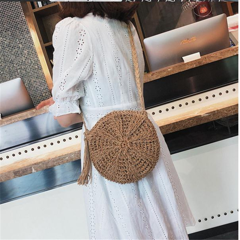 Boho Beach Summer Crossbody Bag Women 2019 Cross Body Shouler Bag Round Circular Straw Woven Playa Basket Purses And Handbag