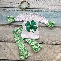 New arrival bé gái St Patrick cô gái quần áo Shamrock trang phục cô gái dài tay áo ruffle quần sets với vòng c