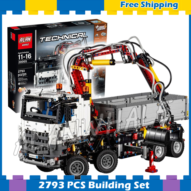 2793pcs 2in1 Technic Electric Motors Motorized Arocs Truck 20005 Model Building Blocks Gifts sets Transport Compatible With lego 720pcs techinic 2in1 motorized container