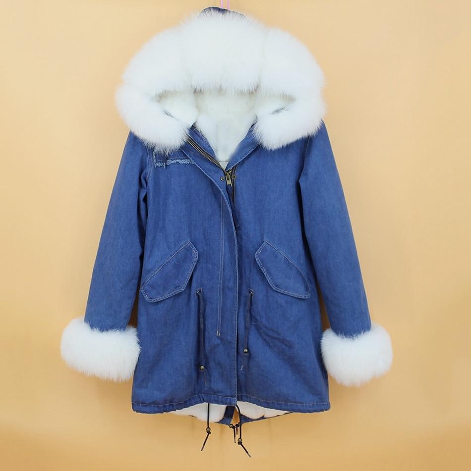 women demin fur parka natural fox fur hoody  (1)