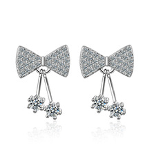 New trendy bowknot shiny cz zircon 925 sterling silver ladies`stud earrings jewelry for women wholesale drop shipping cheap girl