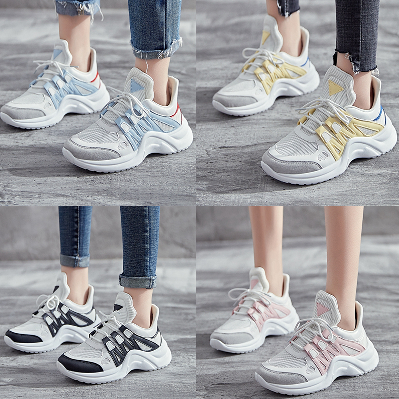 Plus Size 43 Fashion Womens Sneakers 2019 Luxury Designer Ugly White Chunky Sneakers Women Shoes Dad Trainers chaussures femme in Women 39 s Vulcanize Shoes from Shoes