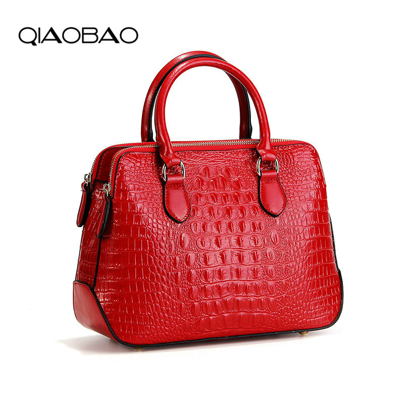 QIAOBAO 2018 New Genuine Leather handbags luxury crocodile pattern oil wax leather shoulder diagonal ladies Alligator luxury genuine leather shoulder