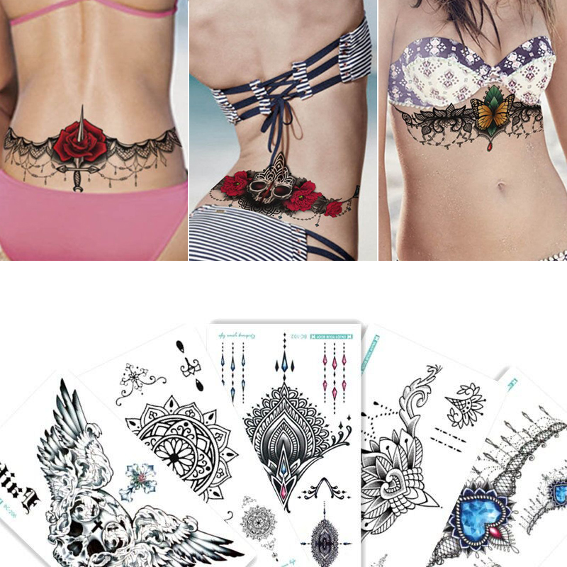 1 лист груди flash татуировки 23 модели большой цветок плечо руку грудины татуировки хной тела/Назад краской под грудью череп черный огонь