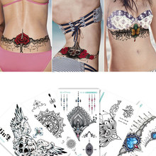 1sheet Chest Flash Tattoo 23models large flower shoulder arm Sternum tattoos henna body/back paint Under breast skull Black Fire(China)
