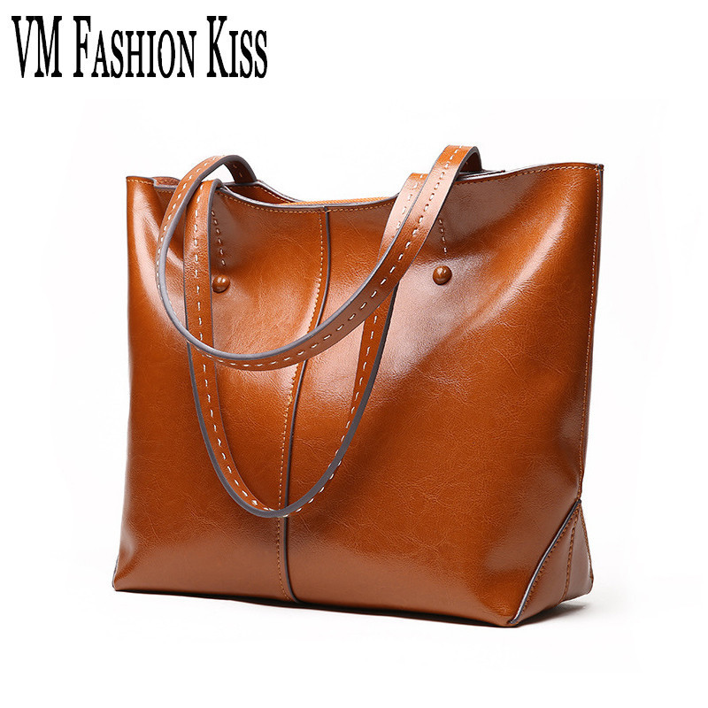 VM FASHION KISS Europe And United States Autumn And Winter Leisure Oil Wax Real Genuine Leather Female Totes High Quality Ladies men hat europe and the united states fashion leather simple autumn and winter wild baseball cap out fashion hot sale