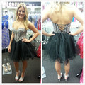 Vestido De Festa Rhinestones Beaded Short Black Cocktail Dress Ball Gown Lace Up Girl 15 Years Homecoming Party 2017