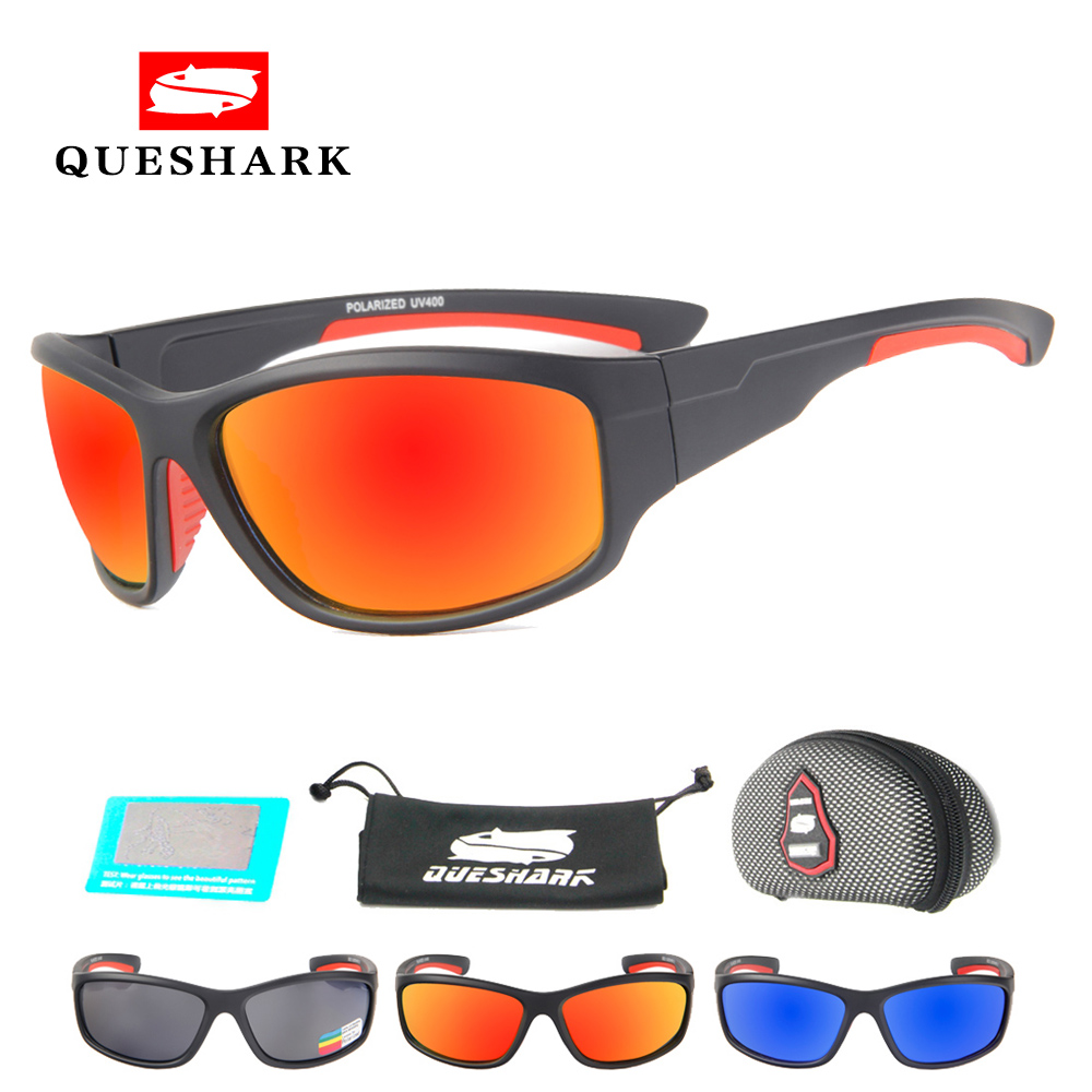 цена Queshark Men Polarized Cycling Glasses Camping Hiking Sunglasses Sports Fishing Goggles Uv400 Protection Eyewear