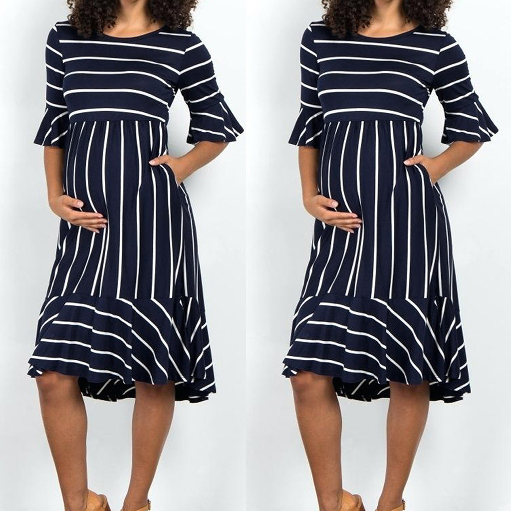 2019 Women Maternity Dresses Mother pregnancy dress Flare Sleeve Striped Pregnancy Summer Sundress pregnant dress Dropshipping(China)