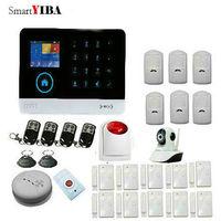 Smartyiba WI FI GSM SMS Беспроводной Главная охранной Охранной Сигнализации приложения Управление GPRS RFID сигнализация с обнаружения дыма тревожная к