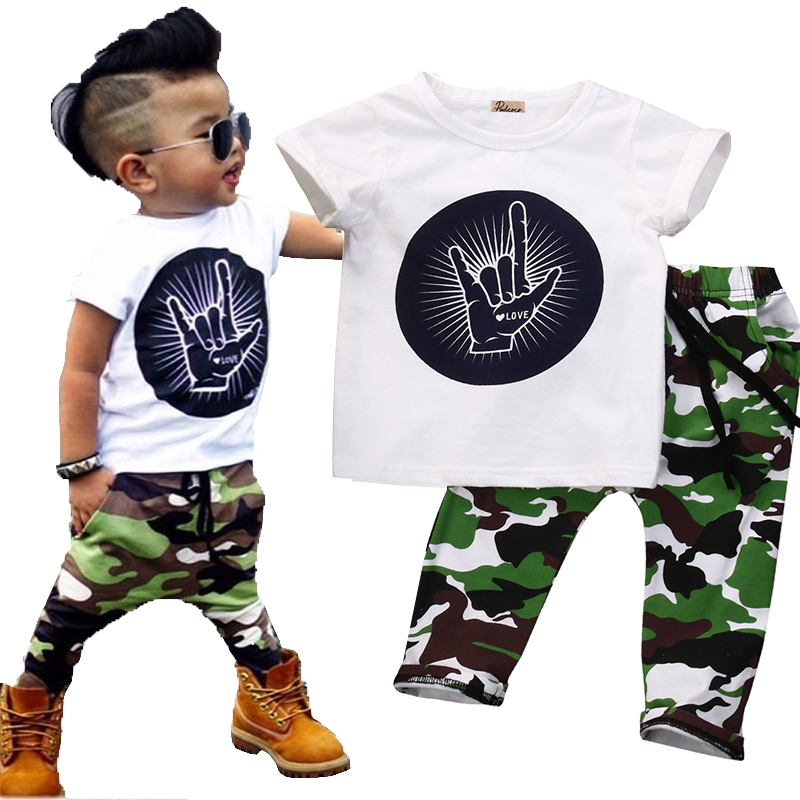 Super Cool  Infant Toddler Baby Kids Boys Outfits Babies Boy  Rock Gesture Tops T-shirt +Camouflage Pants Outfit Set Clothes 2pcs children outfit clothes kids baby girl off shoulder cotton ruffled sleeve tops striped t shirt blue denim jeans sunsuit set