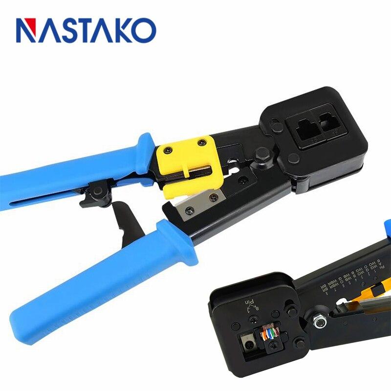 Nastako Сетевое оборудование инструменты EZ RJ45 сетевой кабель щипцы для зачистки обжимной инструмент Щипцы для наращивания волос для CAT5 CAT6 RJ12 ...