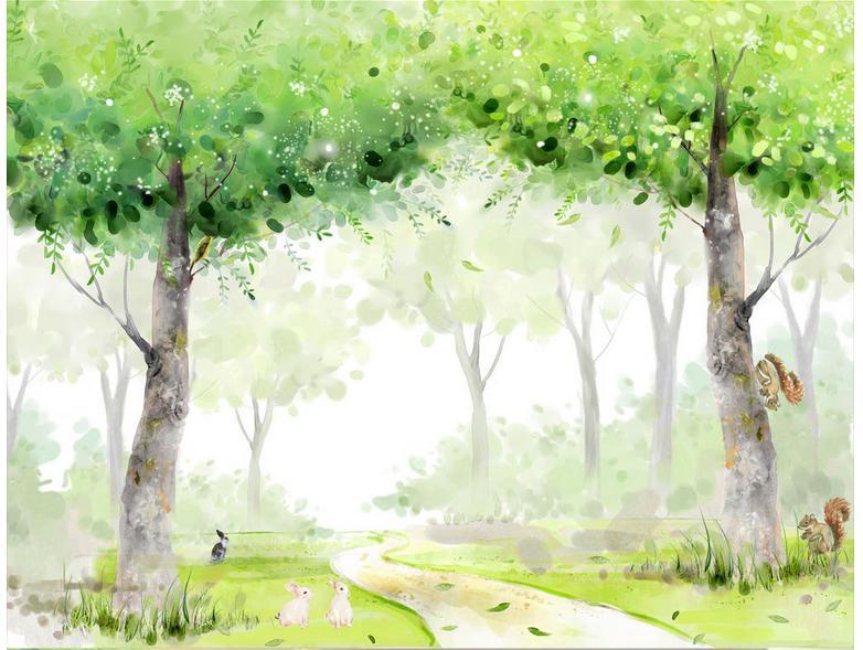 Carta Da Parati Foresta Tropicale : ᗔ3d personalizzato murales carta da parati del fumetto hd dipinti a