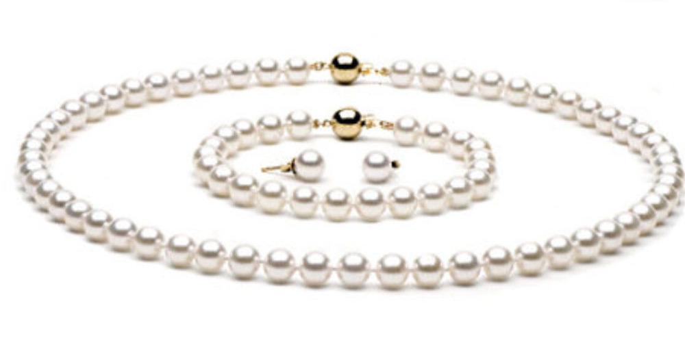 9 10 мм Белый Топ рейтинг жемчужные наборы ожерелье & браслет & серьги 14K застежка
