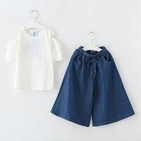 2018 Spring Summer Girls Clothing Sets Girls Clothes Short Sleeve Lace T Shirt Legging Pants 2