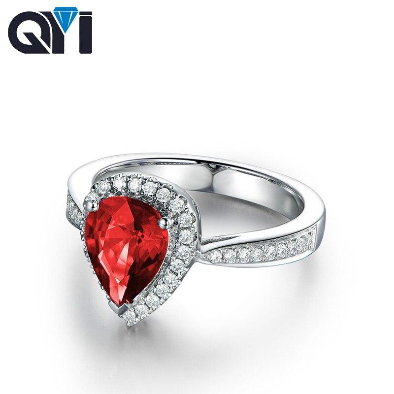 QYI 1ct poire taille simulée rubis Halo anneaux 925 argent Sterling rouge Sona pierre bijoux femmes classique fiançailles anneaux de mariage