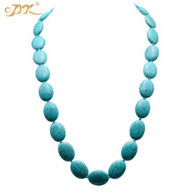 JYX 2019 Elegant Blue Long Turquoise Necklace 18x25mm Oval Shape Gemstone 27 Jewelry gift