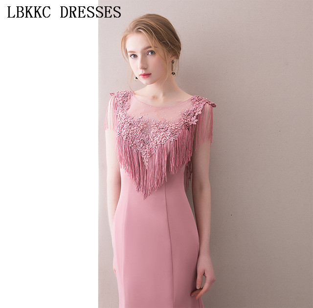 Gala Jurken Nude Pink Mermaid   Prom     Dresses   Satin Tassel Vestido De Festa Sleeveless   Prom     Dress   Women Elegant Evening   Dress
