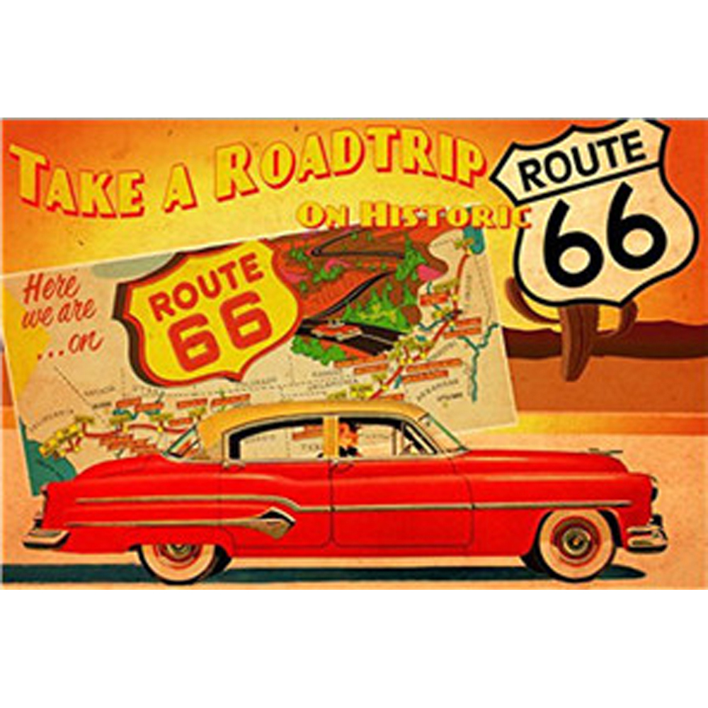 USA Vintage Metal Tin Signs Route 66 Car Number License Plate Plaque Poster Bar Club Wall Garage Home Decoration 1001