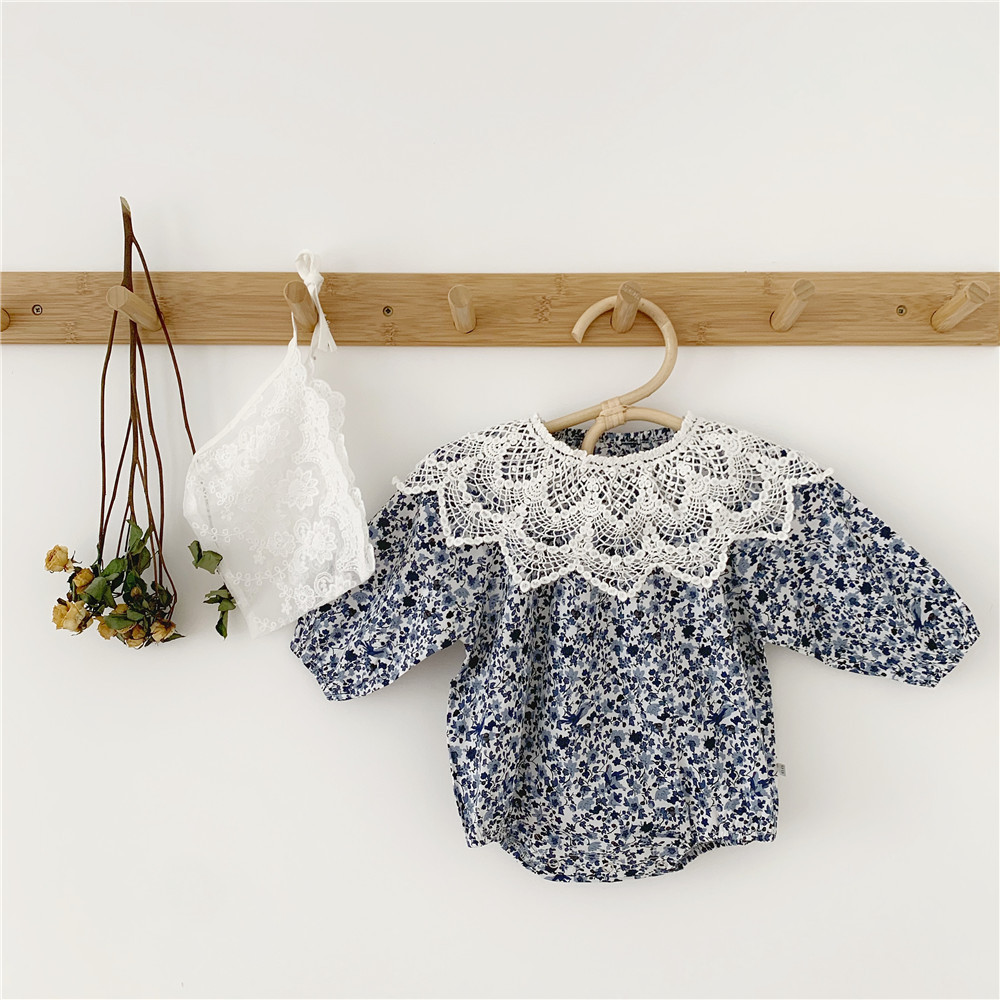 Ins Kids And Girls Removable Lace Collar Climbing Suit Baby Romper With Hat And Lace Collar  Baby Girl Clothes Flower Girls Top