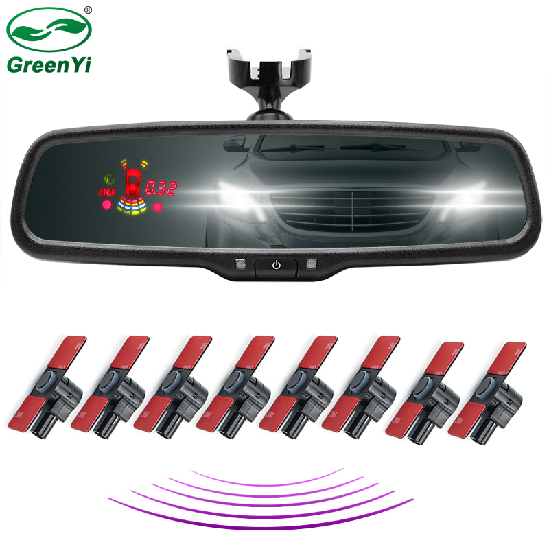 12 Inch Car Interior Rearview Mirror Monitor Front Rear Parking Sensor With Original Bracket 8 PCS
