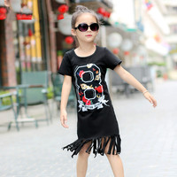 Mom Girl Dress Family Fashion Tassel Summer Cotton Black Family Set Clothes For Mother And Daughter